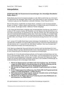 12. Januar 2012: Interpellation Baschi Dürr